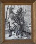 Impressionistic portrait charcoal drawing thumbnail