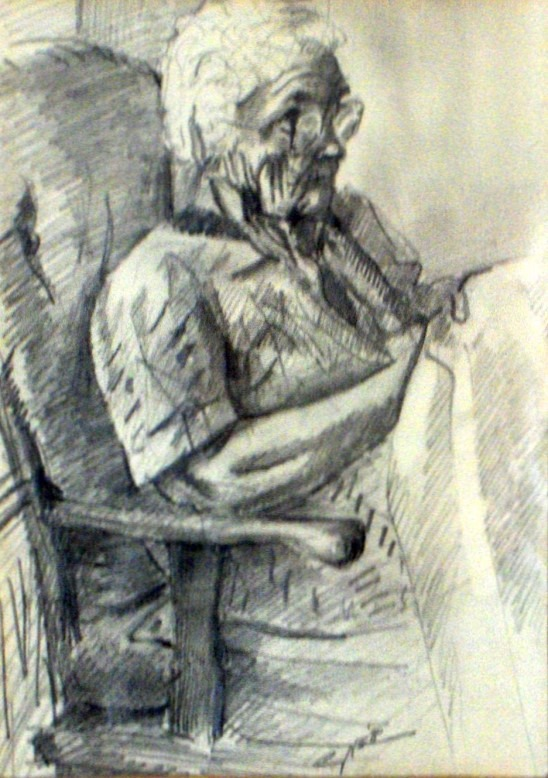 Impressionistic female portrait graphite pendil drawing
