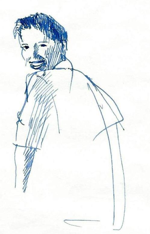 Realistic portrait fountain pen drawing