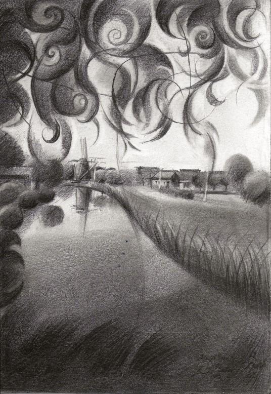 cubistic landscape graphite pencil drawing thumbnail