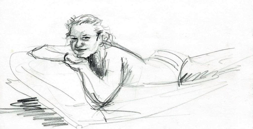 Realistic female graphite pencil drawing