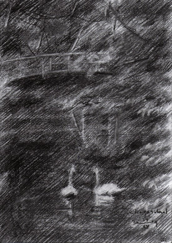 impressionistic graphite pencil drawing of a pond with swans