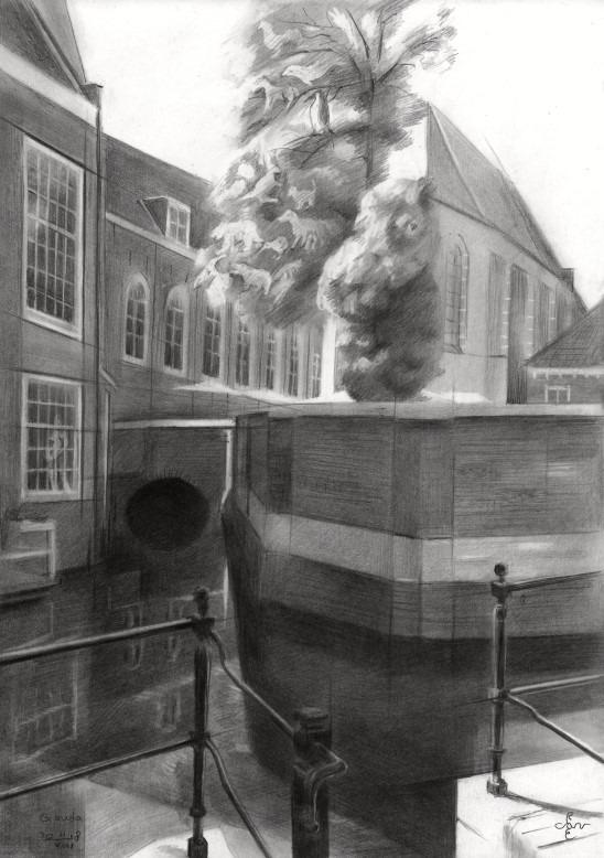 surrealistic moument graphite pencil drawing