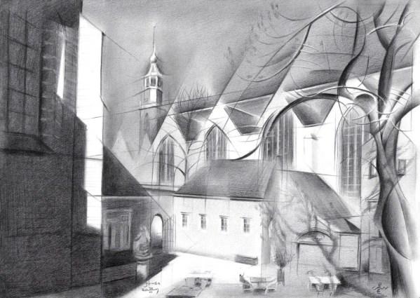 cubistic church graphite pencil drawing