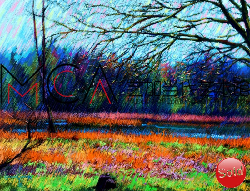 Expressionistic landscape pastel drawing advertisement