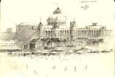 impressionistic mansion graphite pencil sketch thumbnail