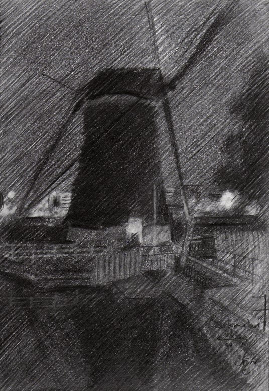 impressionistic mill graphite pencil drawing