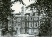 impressionistic mansion graphite pencil drawing thumbnail