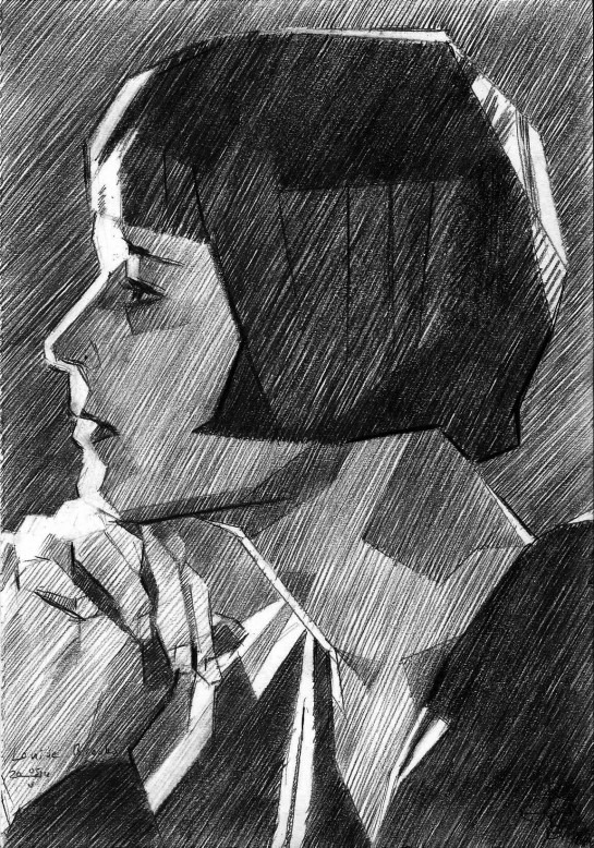 cubistic portrait graphite pencil drawing of Louise Brooks