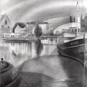 cubistic harbour graphite pencil drawing