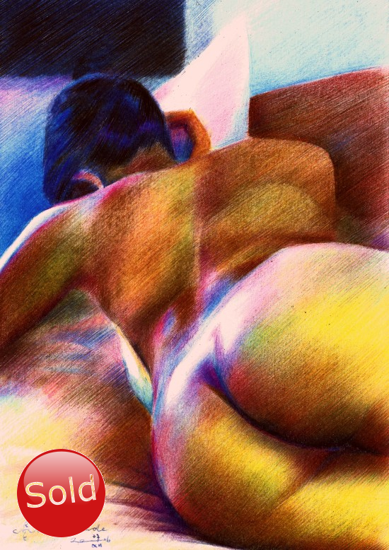 expressionistic nude colored pencil drawing