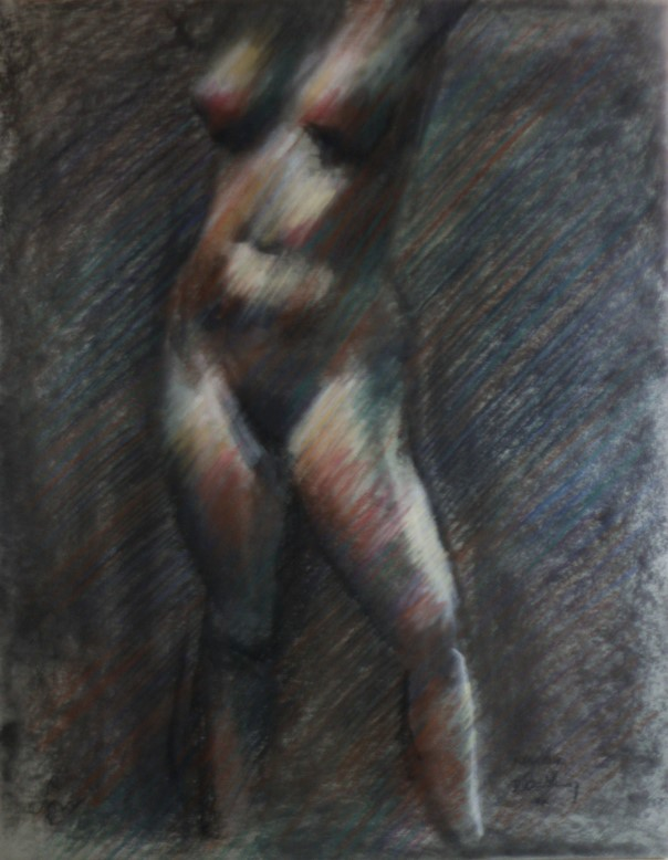impressionistic nude pastel drawing