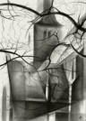 cubistic church graphite pencil drawing thumbnail