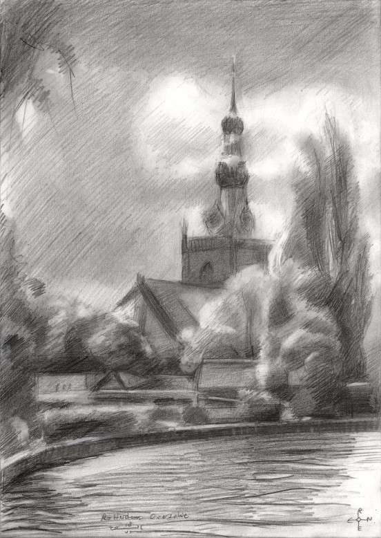 impressionist cityscape graphite pencil drawing