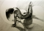 Cubistic nude graphite pencil drawing thumbnail