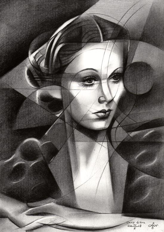 Cubistic portrait graphite pencil drawing of Vivian Leigh