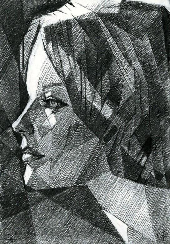 cubistic portrait graphite pencil drawing of Romy Schneider