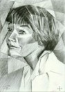 cubistic portrait graphite pencil drawing thumbnail of Shirley Maclaine