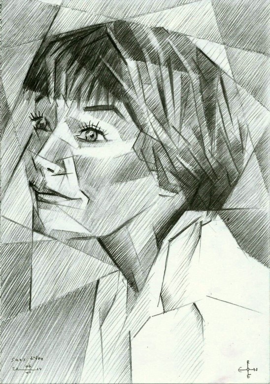 cubistic portrait graphite pencil drawing of Shirley Maclaine