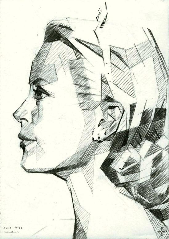 cubistic portrait graphite pencil drawing of Grace Kelly
