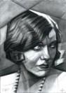 cubistic portrait graphite pencil drawing thumbnail of Gloria Swanson