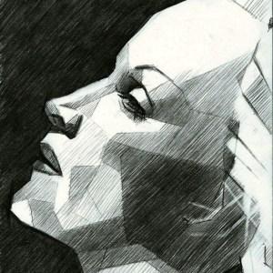 cubistic portrait graphite pencil drawing of Marlene Dietrich