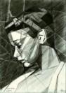 cubistic portrait graphite pencil drawing thumbnail of Sylvia Kristel