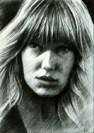 impressionistic portrait graphite pencil drawing thumbnail of Lea Seydoux