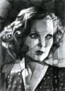 cubistic portrait graphite pencil drawing thumbnail of Loretta Young