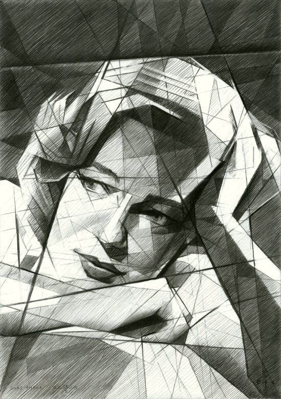Cubistic portrait graphite pencil drawing of Simone Signoret