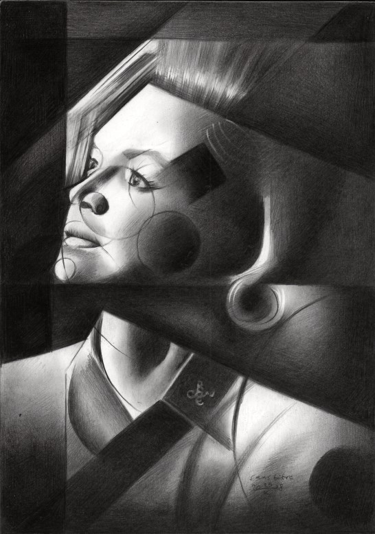 Cubistic portrait graphite pencil drawing of Angie Dickinson