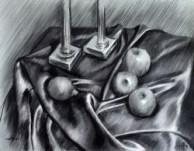 realistic still life charcoal drawing thumbnail