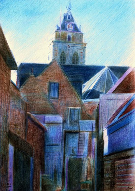 Cubistic cityscape colored pencil drawing