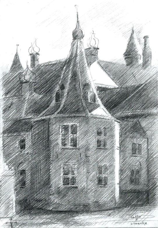 impressionistic urban graphite pencil drawing
