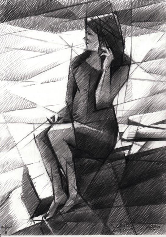 Cubistic model graphite pencil drawing