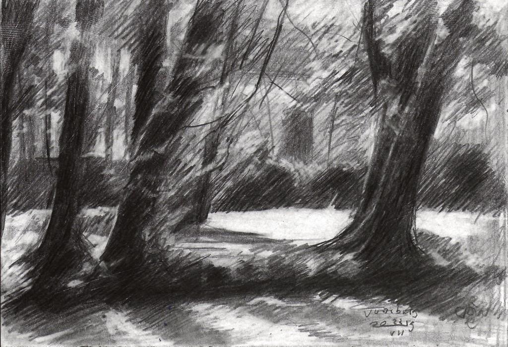 impressionistic treescape graphite pencil drawing