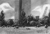 cubistic cityscape graphite pencil drawing thumbnail