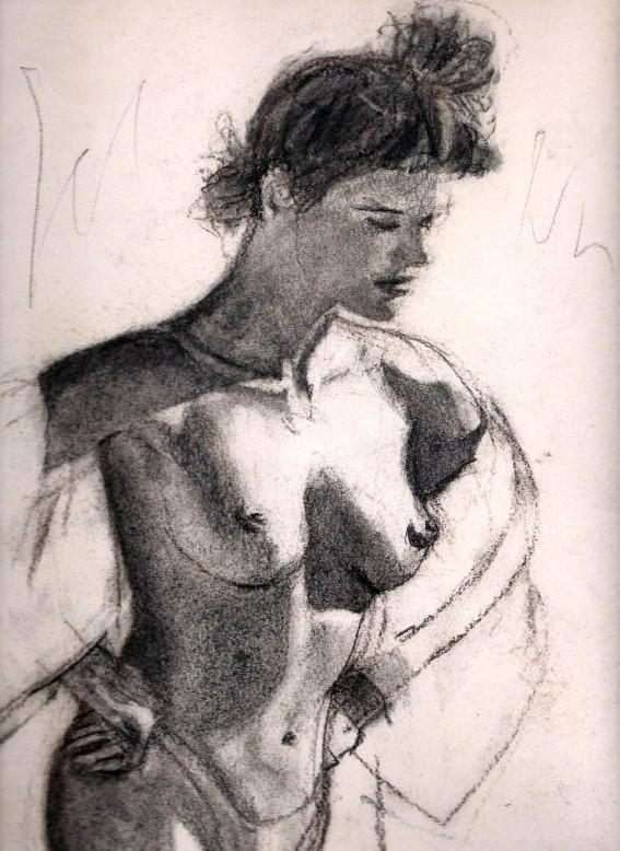 Realistic charcoal and conté nude sketch