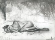 Realistic nude charcoal and conté sketch thumbnail