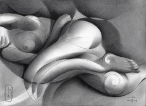 Cubistic nude graphite pencil drawing in the roundism style