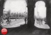 impressionistic cityscape graphite pencil drawing thumbnail