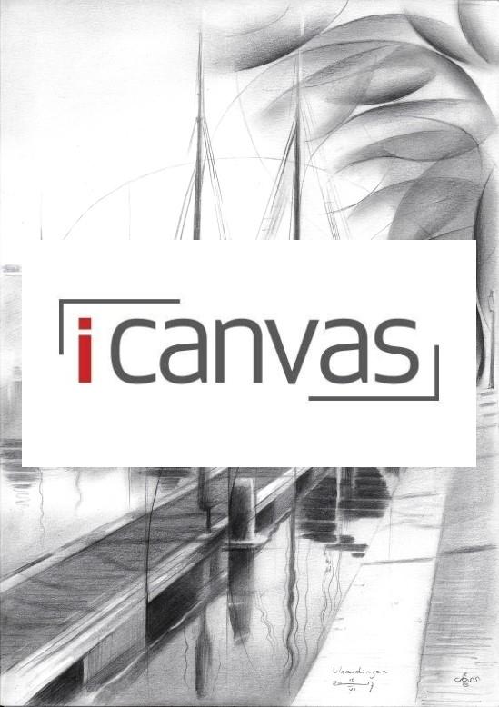 cubistic harbour graphite pencil drawing advertisement