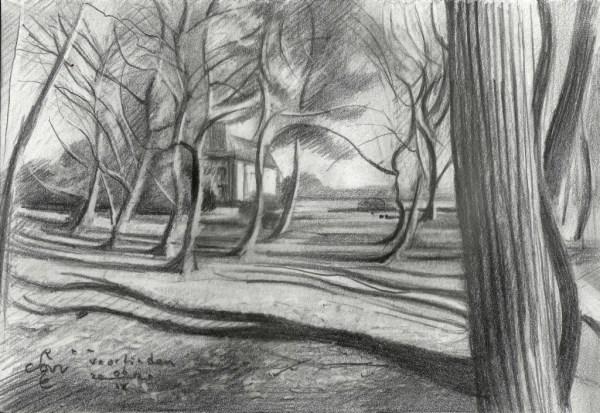 cubistic landscape graphite pencil drawing