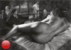 Surrealistic nude graphite pencil drawing thumbnail with Malle Babbe, dejeuner sur l'herbe, rembrandt, la belle ferroniere and salvador dali