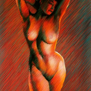 Bettie Page pastel drawing in red