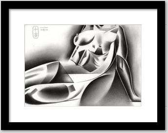 cubist nude graphite pencil drawing framing example