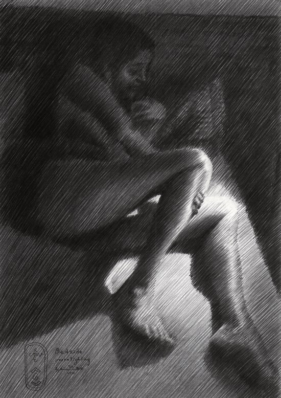 impressionistic nude graphite pencil drawing