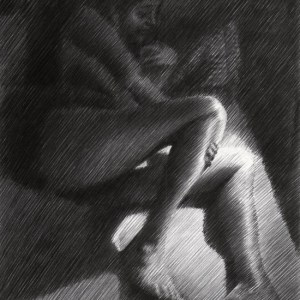 impressionistic nude graphite pencil drawing