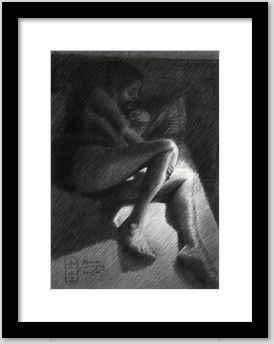 impressionistic nude graphite pencil drawing framing example
