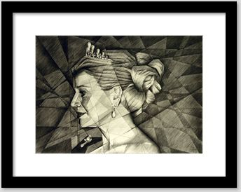 cubistic portrait graphite pencil drawing framing example